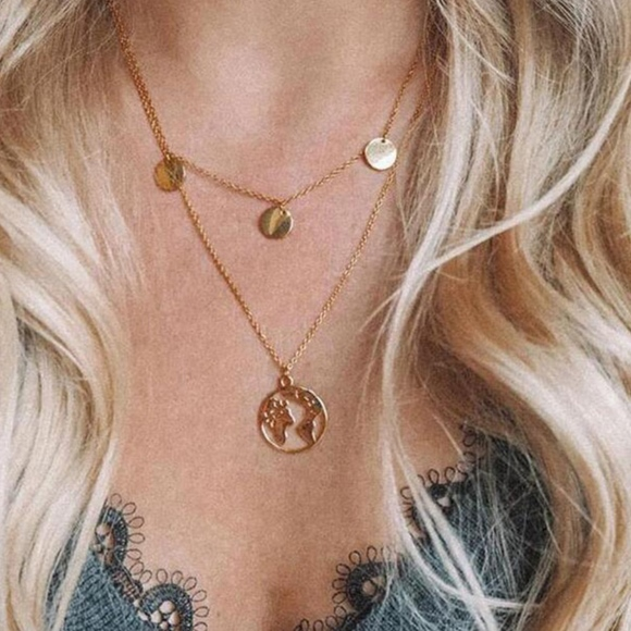 Gold Coin World Map Charm Layered Choker Necklace Boutique